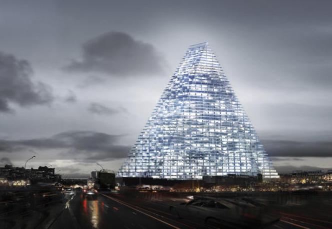 Vue d'artiste de la tour Triangle, le soir depuis le boulevard périphérique intérieur