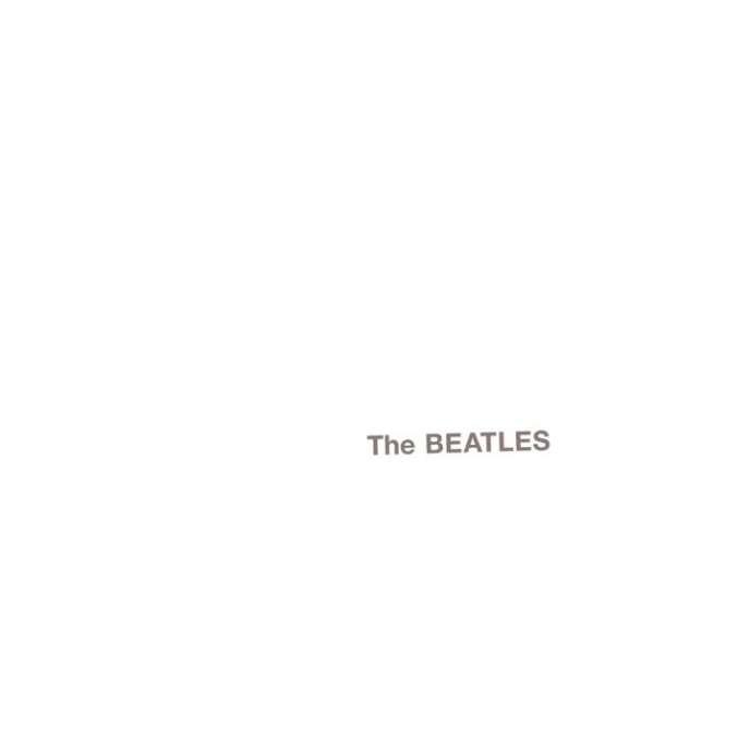 Pochette de « The Beatles », le double « album blanc » des Beatles, publié à l'origine avec le nom du groupe en relief et un numéro de série différent sur chaque pochette (ex.: 0284507, les 001, 002, 003 et 004 ont été réservés aux Beatles).