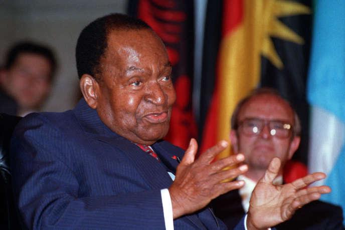 Felix Houphouët-Boigny, lors d'une cérémonie à l'Unesco en 1992, un an avant sa mort.