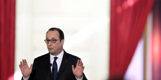 François Hollande lors de sa cinquième conférence de presse, le 5février.