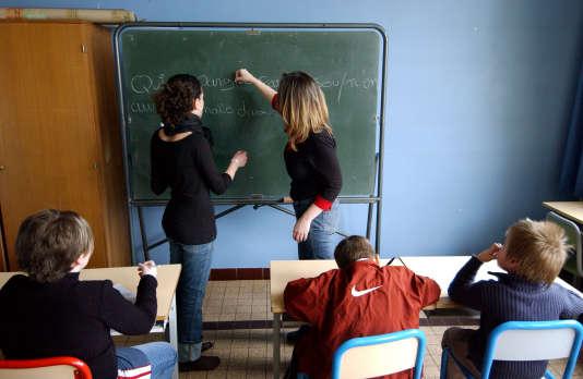 Une salle de classe du groupe scolaire Gringoire à Hérouville-Saint-Clair.