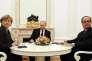 François Hollande, Angela Merkel et Vladimir Poutine se sont rencontrés à Moscou le 6 février, pour évoquer un futur plan de paix sur l'Ukraine.