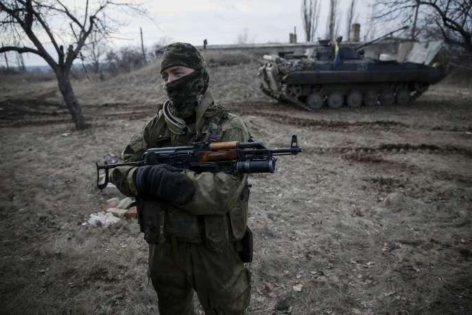 Un soldat ukrainien à proximité de Debaltsevo, le 8 février 2015.