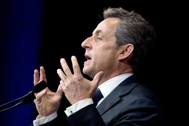 Nicolas Sarkozy pendant son discours à Paris, le 7 février.