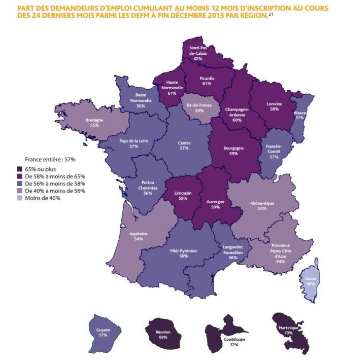 Part des chômeurs de longue durée (12 mois d'inscription à Pôle Emploi sur les deux dernières années) dans les régions.