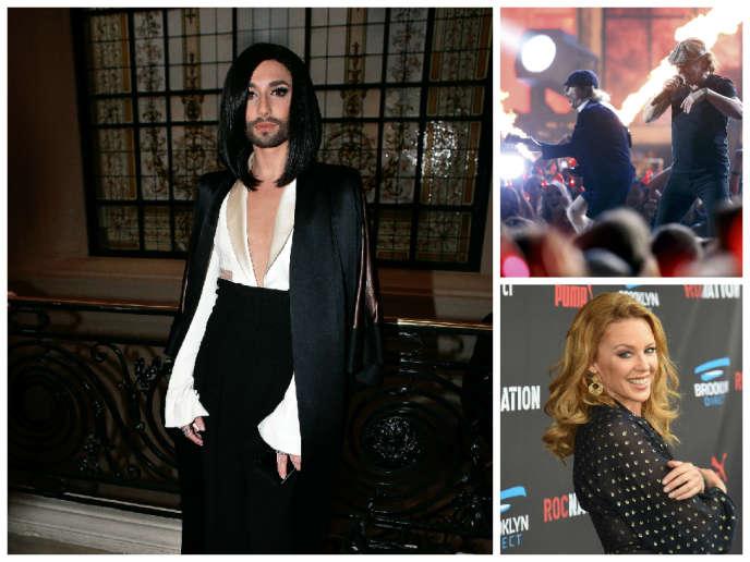 Montage photo de Conchita Wurst, AC/DC et Kylie Minogue.