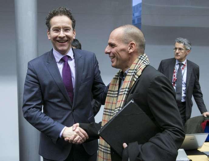 Jeroen Dijsselbloem et Yanis Varoufakis à Bruxelles mercredi.