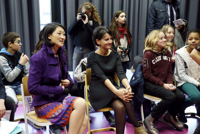 Fleur Pellerin et Najat Vallaud-Belkacem au collège Paul-Bert de Malakoff, le 11 février 2015.