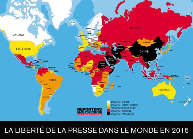 La liberté de la presse dans le monde en 2015, selon Reporters sans frontières.