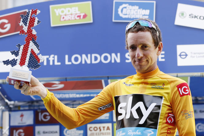 Wiggins en 2013 lors de sa victoire sur le Tour de Grande-Bretagne.