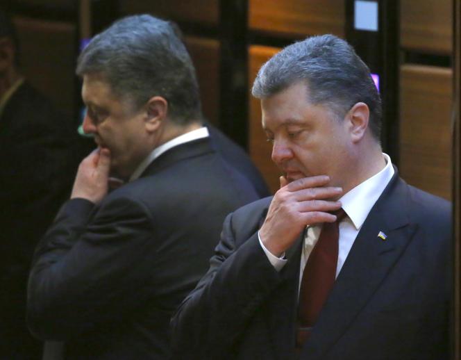 Le président ukrainien Petro Porochenko après les discussions de paix à Minsk jeudi 12 février.