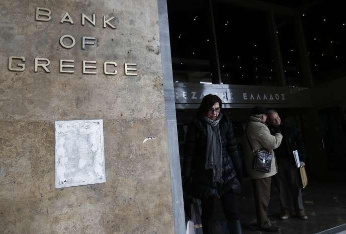 Dans le quartier de la Banque de Grèce, dans le centre d'Athènes, le 12 février.