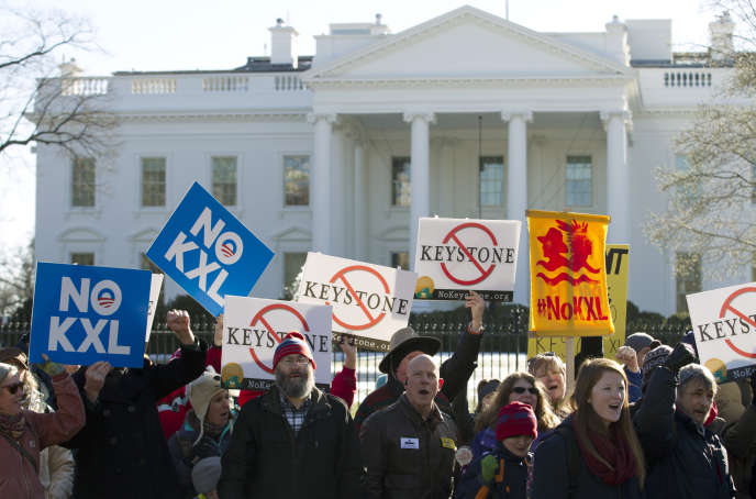 Manifestation de protestation contre la construction de l'oléoduc Keystone XL devant la Maison Blanche le 10 janvier.