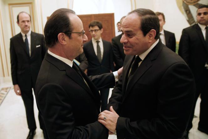 Le président François Hollande et son homologue égyptien, Abdel Fattah Al-Sissi, le 24 janvier, à Riyad.