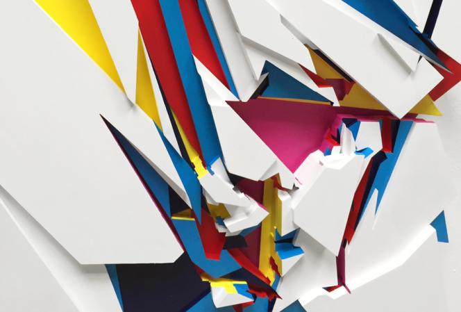 Boris Tellegen, Undercurrent II (détail), 2014, acrylique sur 8 panneaux de bois. A la galerie Backslash.