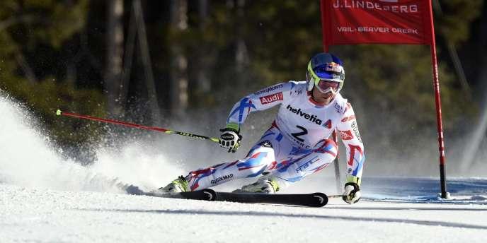 Le Français Alexis Pinturault, lors de la deuxième manche du slalom géant lors des Mondiaux de ski-2015, à Beaver Creek (Colorado).