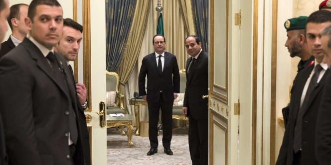 Le président François Hollande et son homologue égyptien, Abdel Fattah Al-Sissi, le 24janvier, à Riyad où ils étaient venus après la mort du roi Abdallah d'Arabie saoudite.