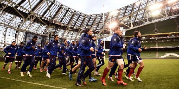 Le XV de France à l'entraînement vendredi 13 février à Dublin.