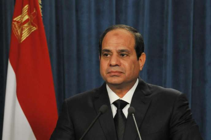 Le président égyptien Abdel Fattah Al-Sissi lors d'une conférence de presse, le 16 février.