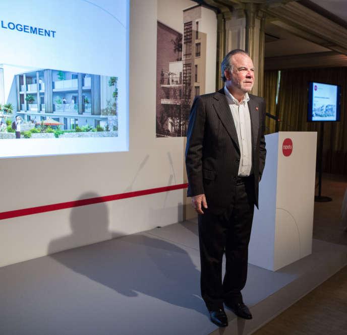 Alain Dinin donne une conférence de presse sur le logement et l'état du marché, au Pavillon Ledoyen, à Paris.