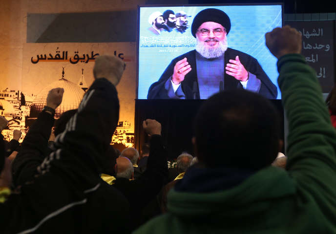 Hassan Nasrallah s'adresse à ses partisans, rassemblés le 16 février à Beyrouth.