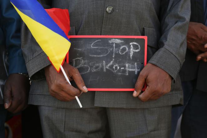 Lors d'un rassemblement en soutien aux troupes tchadiennes qui combattent Boko Haram, au Cameroun également.