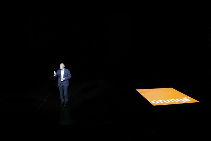 Stephane Richard, PDG d'Orange, durant une présentation d'Orange à Paris le 2 octobre 2014.