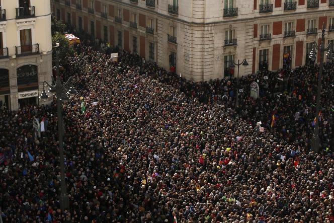 Manifestation organisée par le parti anti-austérité Podemos, à Madrid, le 31 janvier.