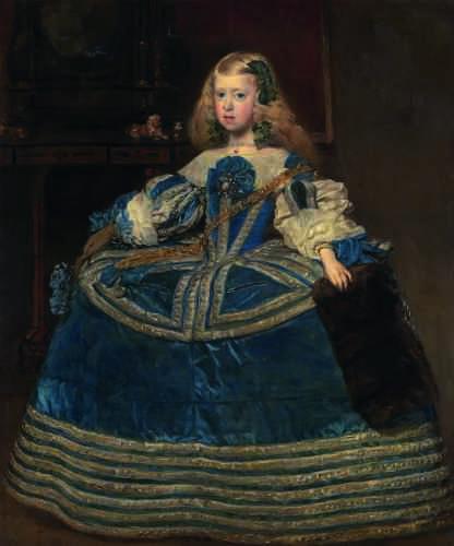 Cette peinture est le troisième tableau de la jeune princesse à avoir été envoyé à la cour de Vienne. Ici, Marguerite est vêtue d'une large robe bleue, couleur assez rare dans sa palette, véritable trône de soie bordé d'argent, animé de rubans et traversé par la chaîne de la Toison d'or.
