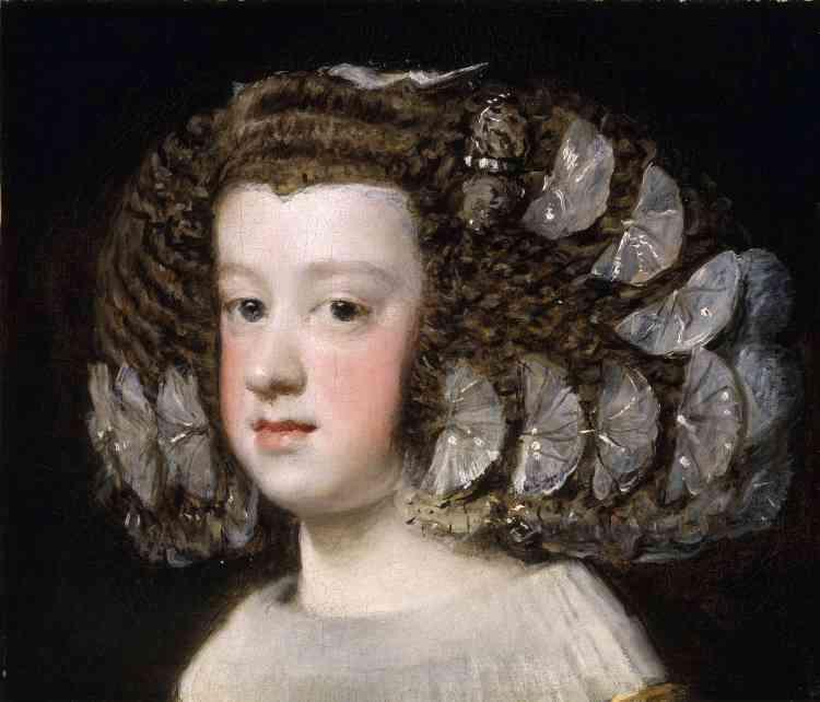 Née en 1638, l'infante Marie-Thérèse est l'unique fille du premier mariage de Philippe IV à avoir survécu. La vivacité de l'expression donne au modèle une présence qui trahit une exécution sur le vif. L'impressionnante coiffure, semée de papillons scintillants, encadre comme un écrin le visage de la princesse.