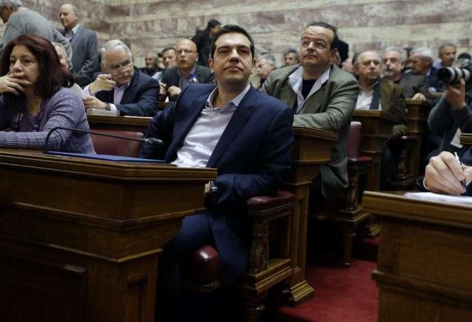 Le premier ministre grec, Alexis Tsipras, le 17 février à Athènes, avant son intervention devant le Parlement.