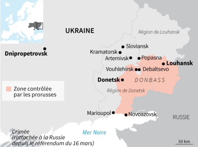 Les zones contrôlées par les rebelles prorusses dans l'est de l'Ukraine à la mi-février.