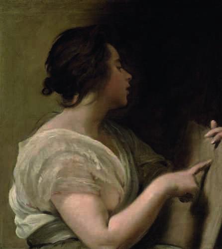 Formellement, la figure en mouvement de la jeune femme fut rapprochée des instables sibylles (prophétesses) peintes par Michel-Ange au plafond de la chapelle Sixtine. Cette ressemblance de formes a laissé penser que le tableau avait pu être exécuté à Rome, lors du deuxième voyage de l'artiste dans la péninsule italienne – soit entre 1648 et 1651.