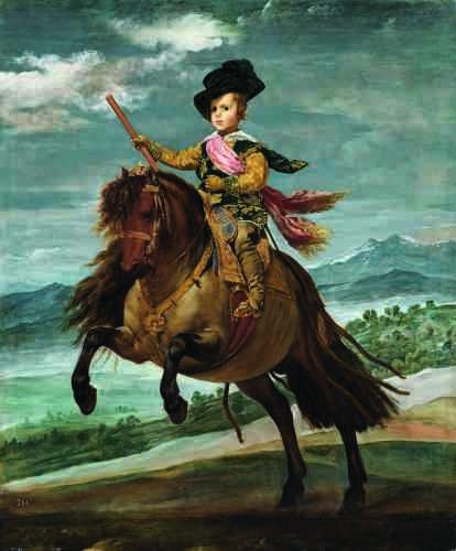 Agé de 5 ou 6 ans, le jeune prince est représenté chevauchant un fringant poney. C'est bien en chef de guerre que pose l'infant, en accord avec le thème de la galerie à laquelle était destiné son portrait. Le cadre précis duquel jaillit le prince sur sa monture a pu être localisé dans les environs du palais du Pardo, terres de chasses royales depuis le XVe siècle.