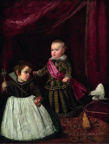 Balthasar Carlos est représenté en surplomb, sur une légère estrade couverte d'un tapis, annonçant les portraits à venir de l'infante Marguerite. Un lourd rideau lui fait un dais tandis qu'un coussin accueille son chapeau. Contrastant avec le hiératisme de la pose du prince, le nain de cour est vêtu comme un garçon en bas âge et s'apprête à quitter le champ de la représentation.