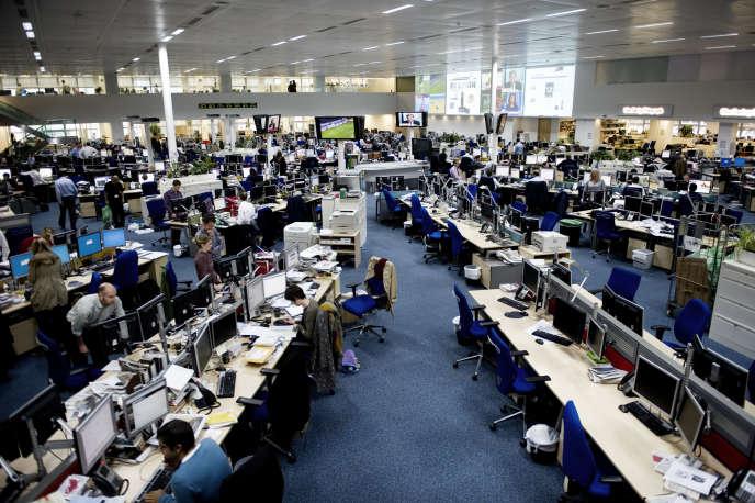 La salle de rédaction du groupe Telegraph Media, à Londres, en mai 2012.