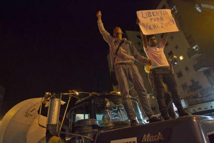 Manifestation en protestation après l'arrestation d'Antonio Ledezma, le 19 février, à Caracas.