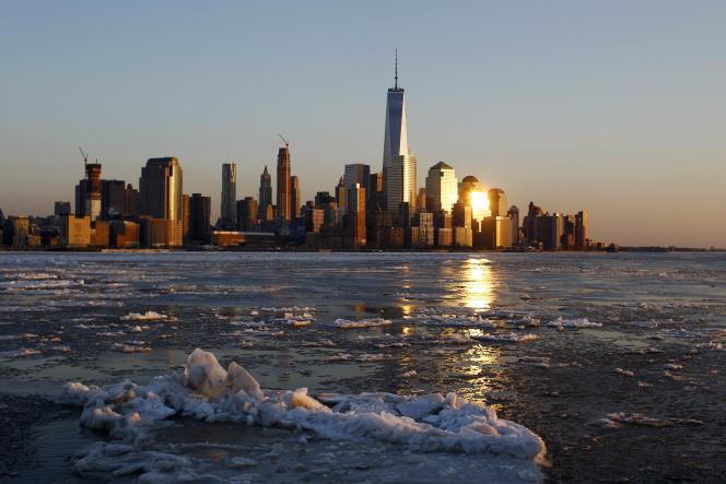 La rivière Hudson gelée le 20 février alors que New York subit une vague de froid.