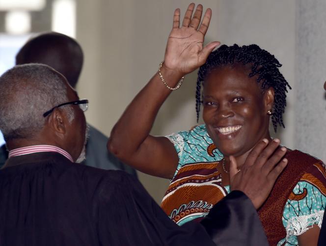 L'ex-Première dame Simone Gbagbo pour sa première apparition le 23 février aux Assises d'Abidjan après trois ans de détention.