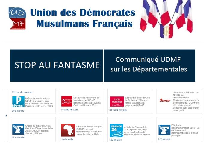 Capture d'écran du site de l'UDMF.