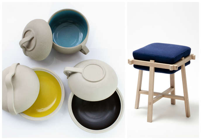 A gauche, les plats colorés de Laurent Corio et à droite, le tabouret de Jules Levasseur.