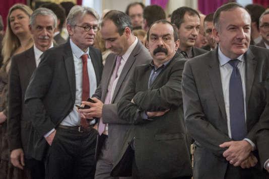 Jean-Claude Mailly, FO, Laurent Berger, CFDT, Philippe Martinez, CGT, en janvier 2015