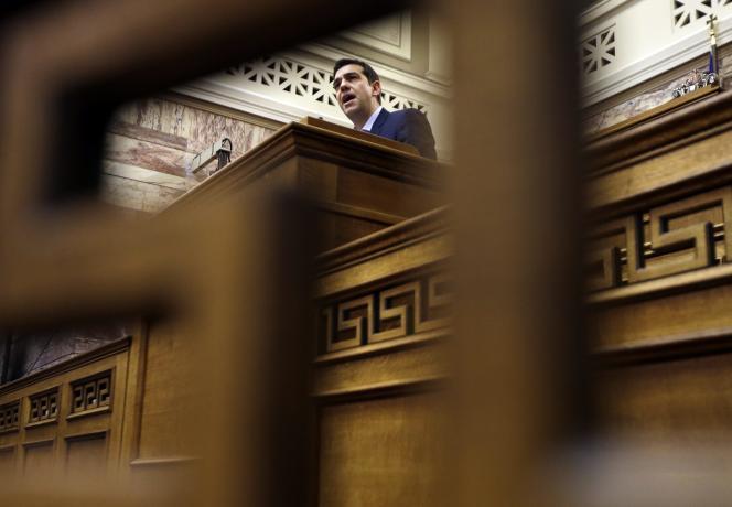Le premier ministre Alexis Tsipras au Parlement grec, à Athènes, le 17 février.