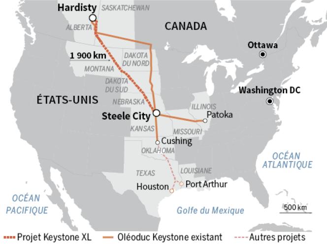 Le tracé du projet Keystone XL .