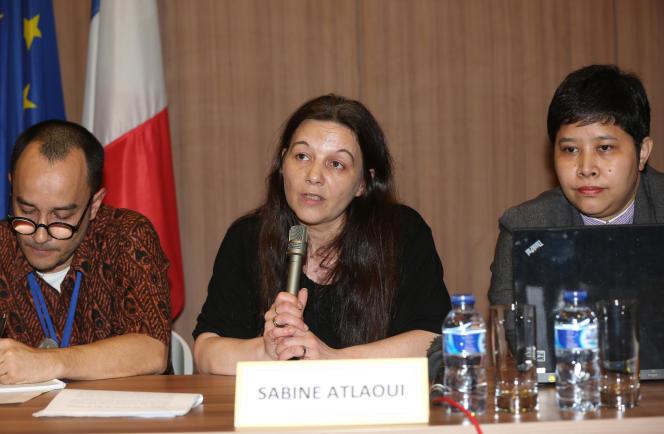 Sabine Atlaoui, lors d'une conférence de presse à Djakarta, le 26 février.