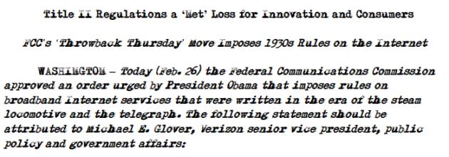 Le communiqué de presse envoyé par Verizon quelques minutes après la décision de la FCC.