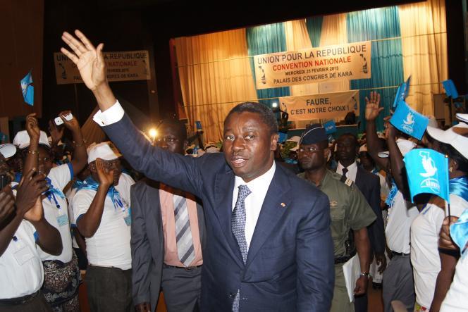 Le président togoalais Faure Gnassingbé, le 25 février 2015, lors de la  convention d'investiture à Kara, à 420 km au nord de Lomé.