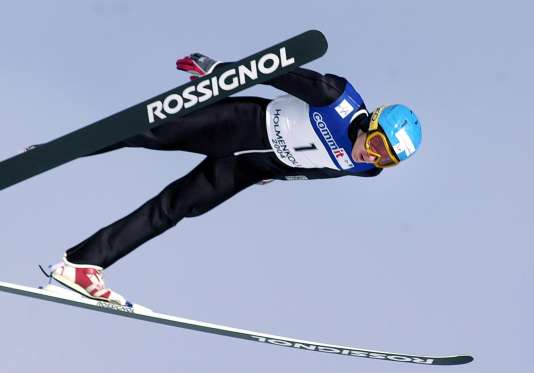 Jason Lamy-Chapuis lors de l'épreuve de saut à skis, le 28février, à Oslo.