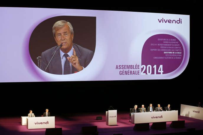 Vincent Bolloré, président du conseil de surveillance de Vivendi, lors de l'assemblée générale du groupe, en juin 2014