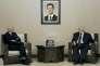 Staffan de Mistura, médiateur de l'ONU pour la Syrie et Walid Al-Mouallem, ministre syrien des affaires étrangères, à Damas, en 2015.